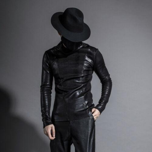 Mens PU Leather Warm Long Sleeve Pullover Shirts Punk Black Hoodie Tops Sz