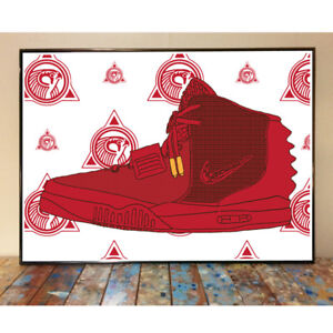 54613649e NIKE AIR YEEZY 2 RED OCTOBER KANYE WEST SNEAKER ART PRINT POSTER ...