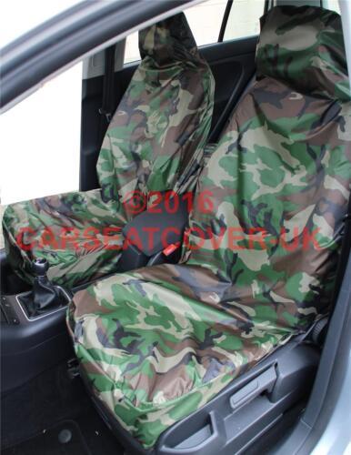 Para Nissan-Verde Camuflaje Impermeable cubiertas de asiento de coche-Par
