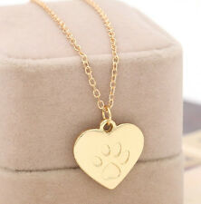 Gold Plated Punk Cat Dog Paw Pendant Charms Necklace Unisex Jewellery