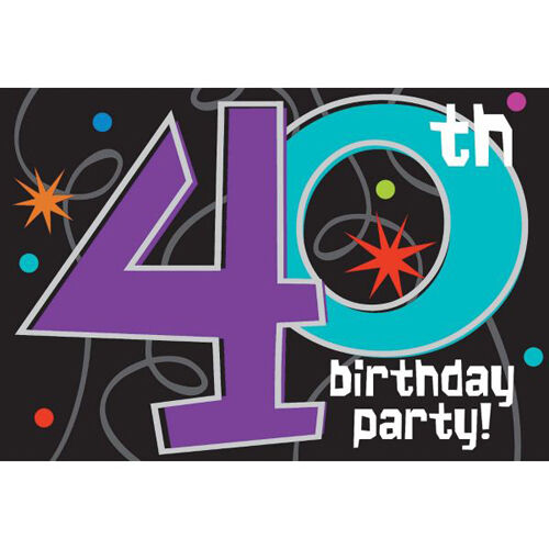 8 OVER THE HILL 40th BIRTHDAY INVITATIONS ~ Party Supplies Stationery Cards