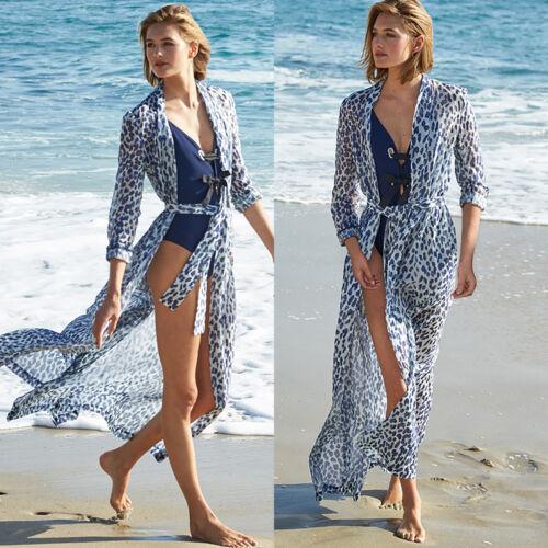 Bikini Maxi Cover Up Boho Retro Beach Kaftan Lace Crochet Kimono Chiffon Sarong