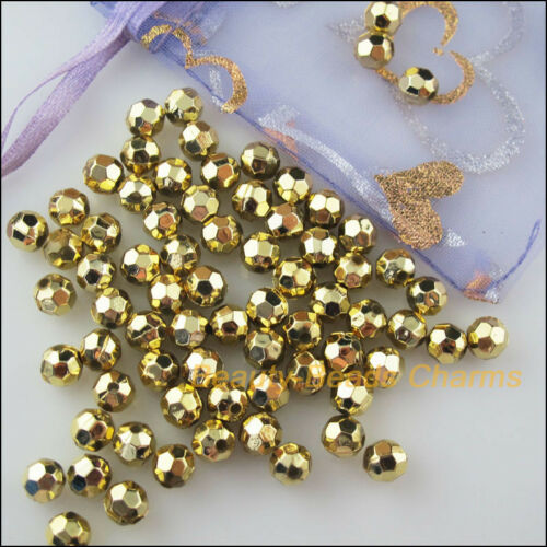 30Pcs Gold Plated Plastic Acrylic Round Faceted Space Beads Charms 10mm