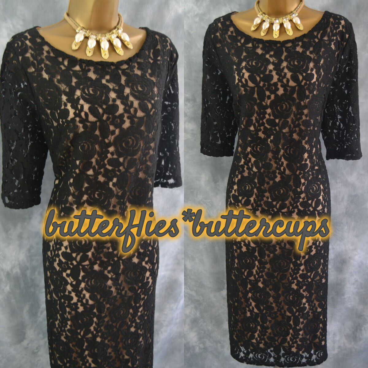 ~ DAVID EMANUEL ~ Size 18 20 Stunning Black Nude Lace Dress Mother of the Bride