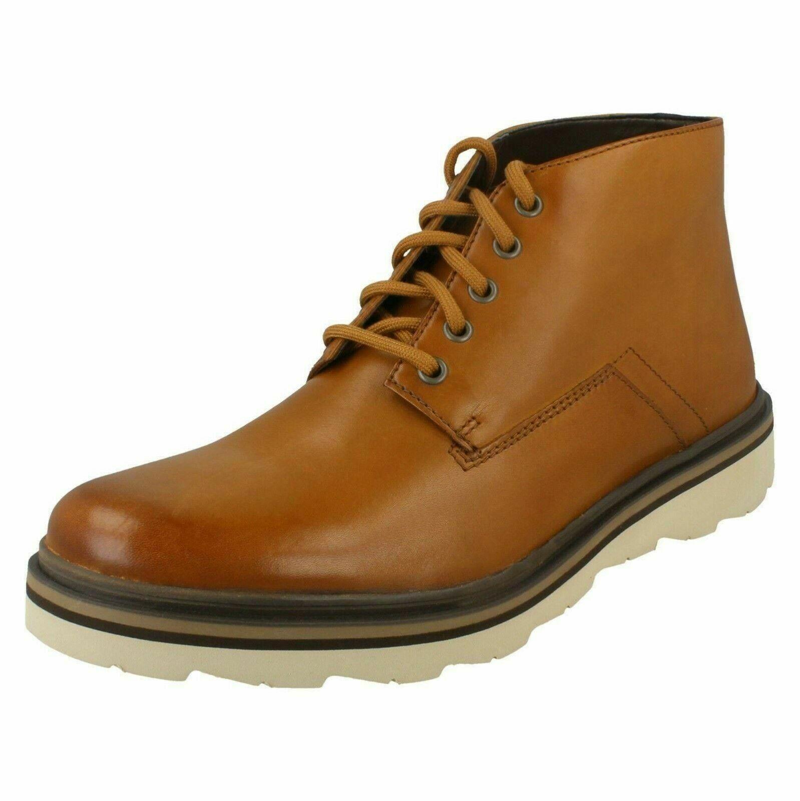 Mens Clarks Cognac Leather Lace Boots : Frelan Mid