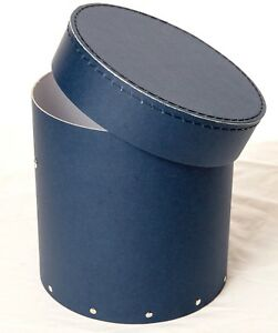 1x Navy Decorative Round Hat Box For Flowers Home Decor Gift M Ebay