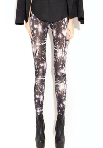 Lucky Girl Womens Multi-color Lightning Galaxy Spandex Thunder Wild Leggings