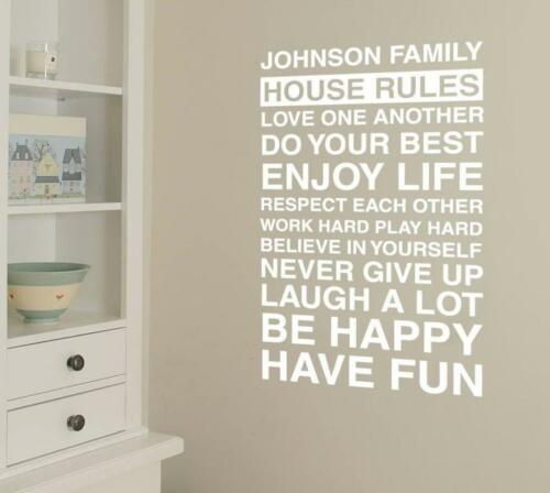 Details about  /House Rules with Name Wall Sticker Wall Chick Decal Art Sticker Quote