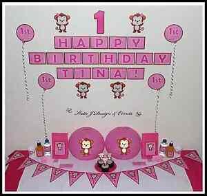 BABY CHEEKY MONKEY SHOWER Girl 1st Birthday Party Decorations Scene