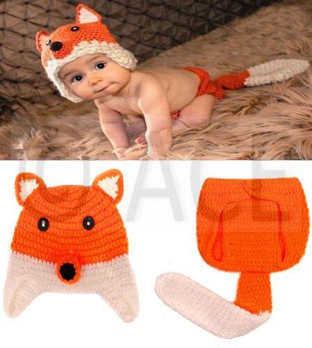 Baby Boys Girls Crochet Knit Costume Outfit Beanie Hat Newborn Romper Animal Set
