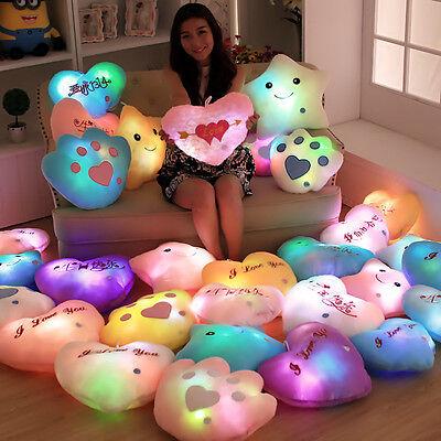 1x LED Cute New Colorful Stuffed Dolls Star Heart Bear Paw Cushion Pillows Toys