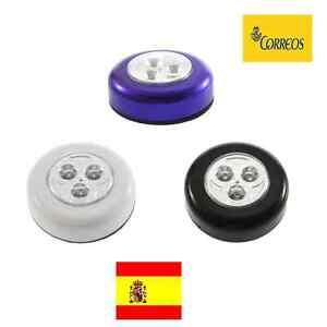 Lampara Luz A Pilas Adhesiva Portatil 3 Leds Para Armario Niño Noche Sin Cable Ebay