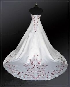 Details about White and Red Embroidery Ball Gown Satin Wedding Dresses Plus  Size Bridal Gowns