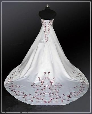 White And Red Embroidery Ball Gown