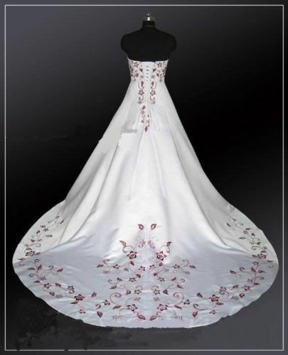 White and Red Embroidery Ball Gown Satin Wedding Dresses Plus Size Bridal  Gowns