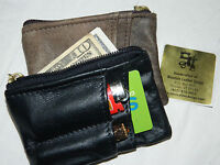 Leather Zip Zippered Coin Change Card Pouch Purse Mission Wallet Handmade Usa