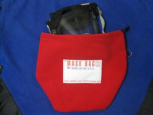 S.M. Smith Co. SCBA Mask Bag, MB3-101, Heavy Fleece, RED, W/drawcord.