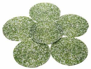 Green-amp-White-Beaded-Handmade-Placemat-Table-Decor-Coffee-Tea-Coaster-Set-of-6