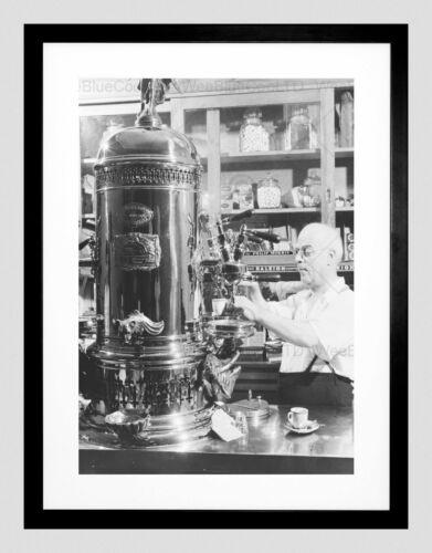 PHOTO BLACK WHITE ITALIAN AMERICAN CAFE ESPRESSO SHOP FRAMED ART PRINT B12X7586