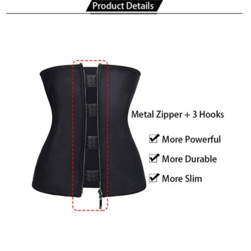Fajas Colombianas Zip Latex Rubber Waist Trainer Weight Loss Cincher Belt Corset