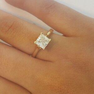 3cbd897dd46ca 1.25 CT Princess Cut Diamond Solitaire Engagement Ring 14k Solid ...