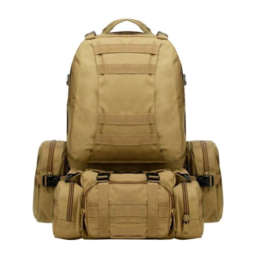 4-in-1 Outdoor 55L Molle Military Tactical Camping Hiking Trekking Backpack Lot