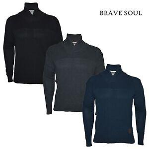 Homme-Brave-Soul-Pull-a-Manches-Longues-Chale-Col-Haut-Decontracte-100-coton