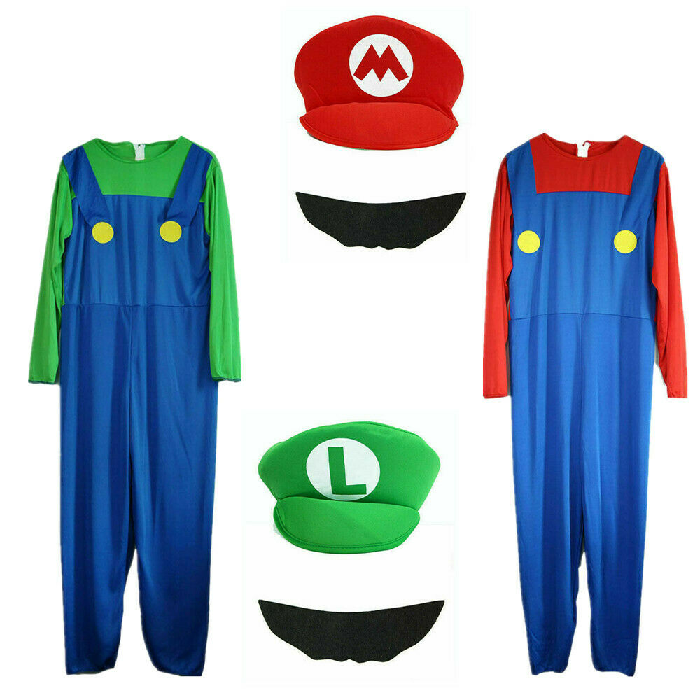 Mens Adult Super Mario and Luigi Fancy Dress Plumber Bros Halloween Costume