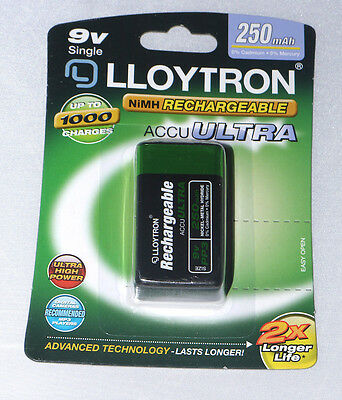 9V PP3 250 mAh Lloytron Rechargeable Battery up to 1000 Times Rechargeable