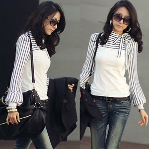Womens-Long-Sleeve-Stripe-Blouse-Ladies-Casual-Slim-Summer-T-shirt-Top-Size-8-18