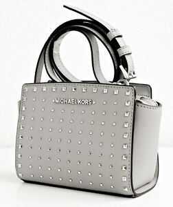 Details about Michael Kors Bag Shoulder Bag Selma Studded Small Messenger Grey Silver NEW show original title