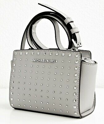 Michael Kors Bag Shoulder Bag Selma Studded Small Messenger Grey Silver NEW | eBay