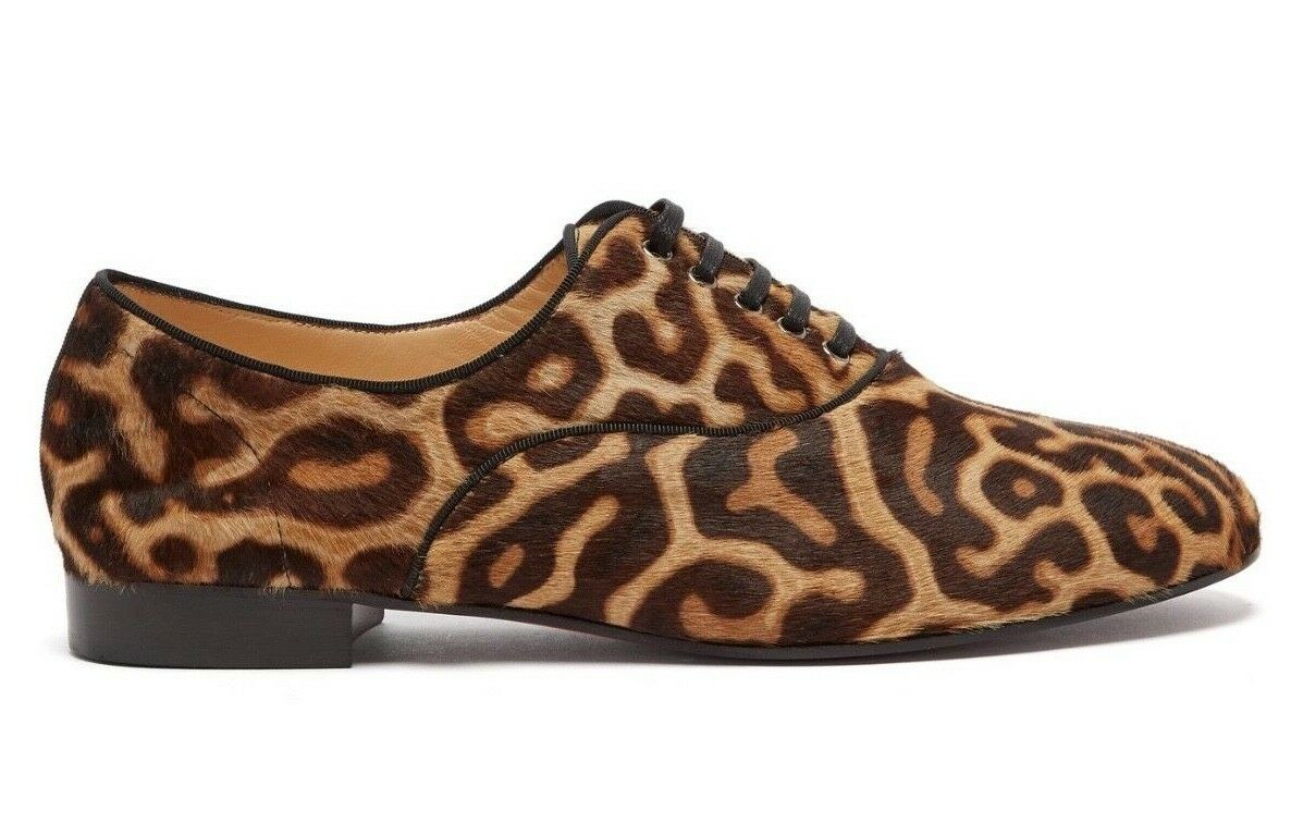 Christian Louboutin New Fred Flat Black Brown Leopard Pony Fur Derby Loafer 37