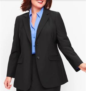 NWT Talbots Black Seasonless Wool Two Button Blazer Size 14WP Retail $214