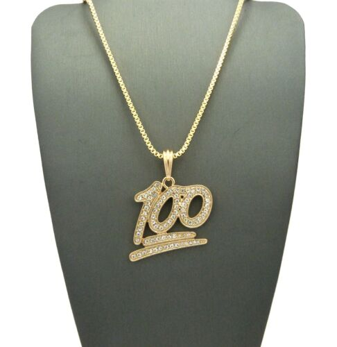 ICED OUT GOLD SILVER 100 INSTAGRAM EMOJI MINI CHAIN NECKLACE PENDANT HIP HOP