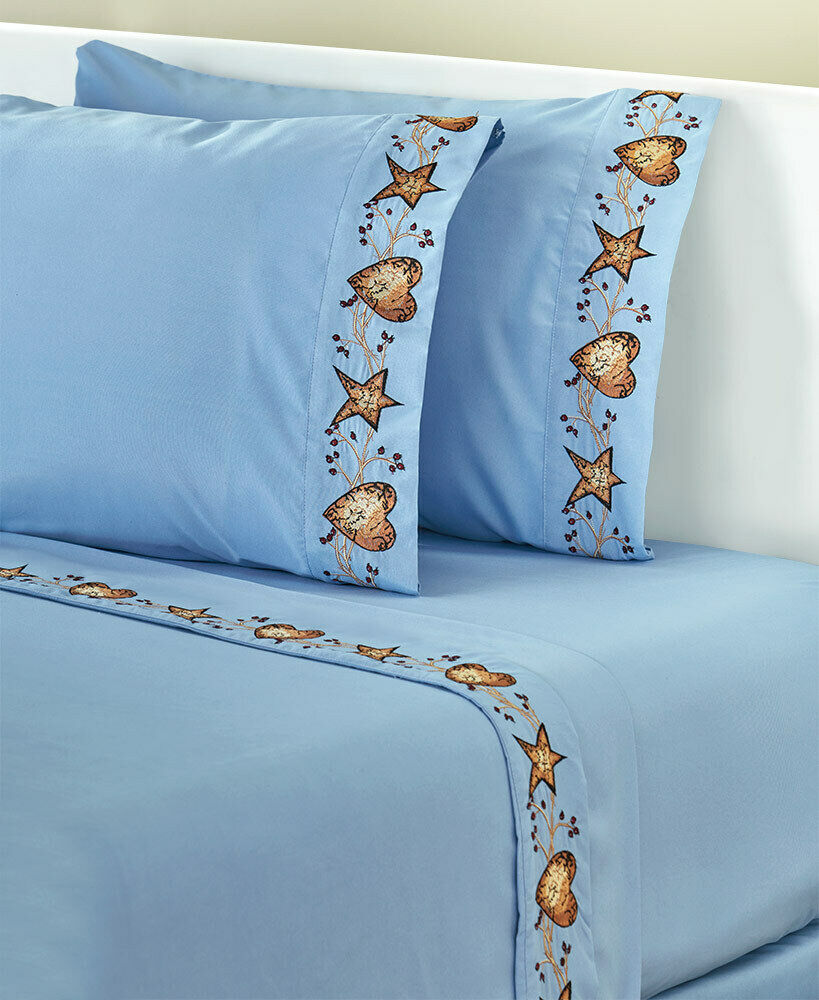 Linda Spivey Hearts and Stars Classic Country Blau Bedding 4pc Sheet Sets
