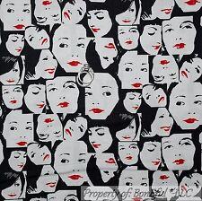 BonEful FABRIC FQ Cotton Quilt VTG B&W Face Ethnic Red Sexy Girl Kiss Lips Block