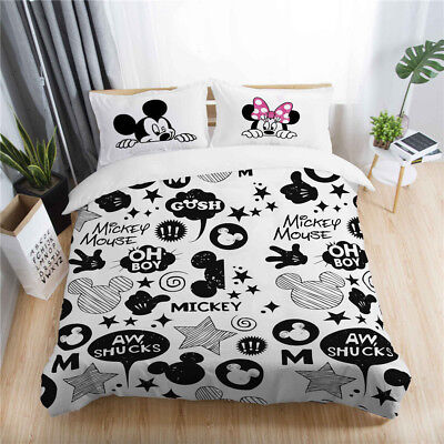 3D Disney Mickey Mouse Minnie Kid Bedding Set Duvet Cover Pillowcase Quilt Cover