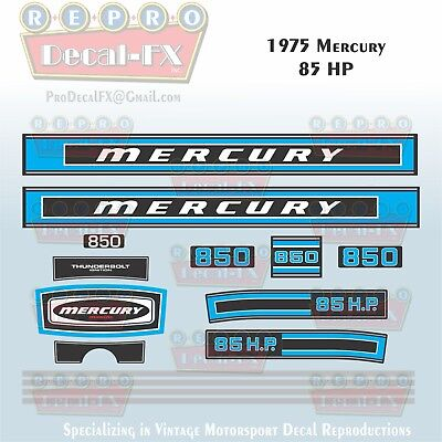 Reproduction Decals In Stock! Mercury 1973 85hp Outboard Decal Kit