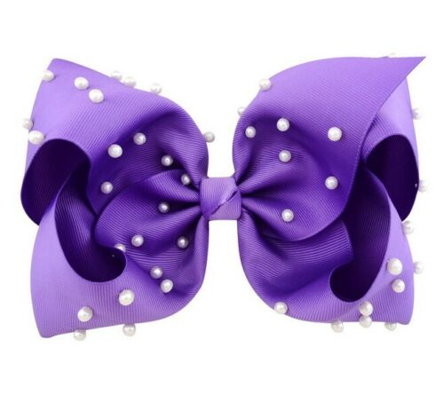 8/'/' Large baby girl Children Bow Hairpin Girl Bow With Pearl Hair Clip A101
