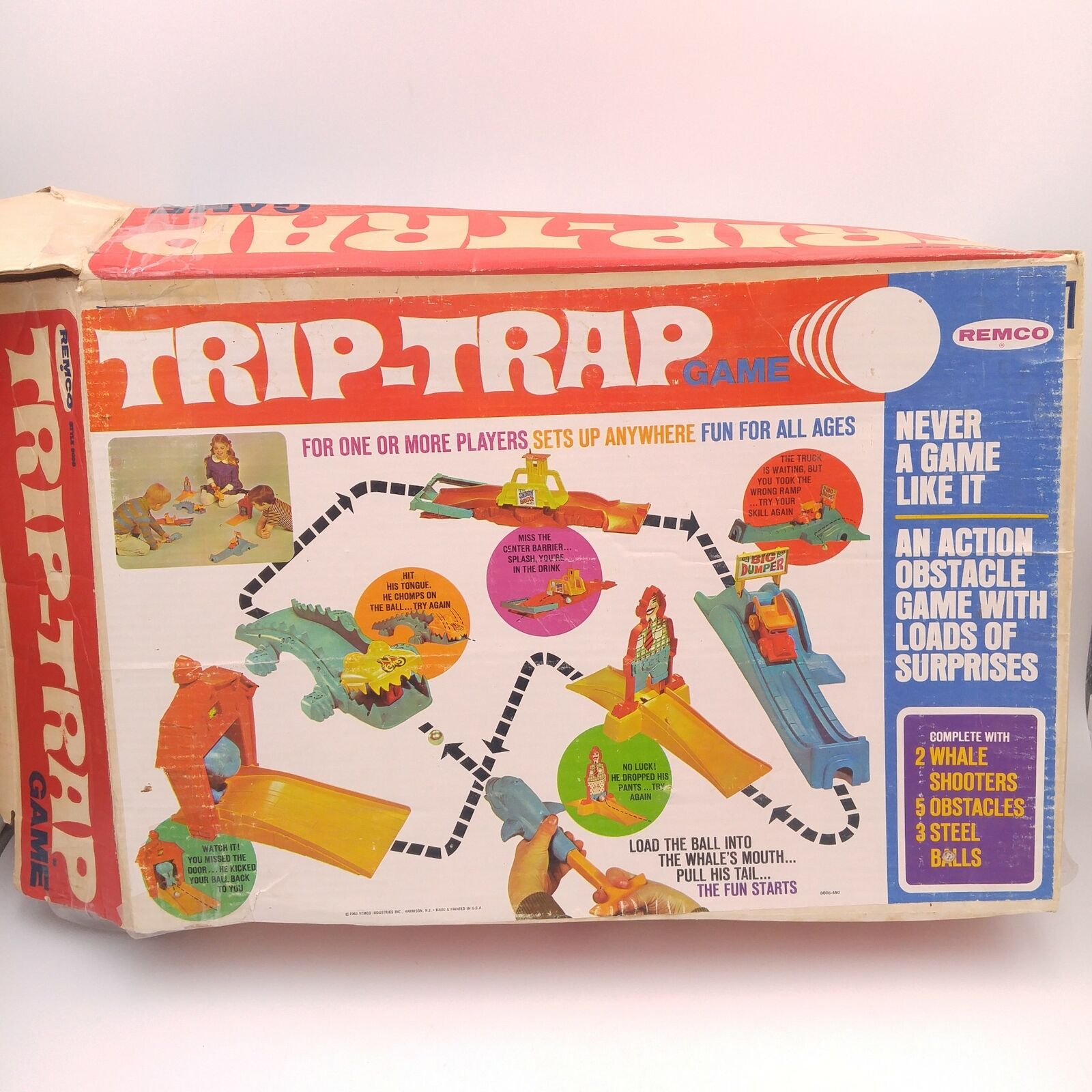 Vintage Trip-Trap Board game action obstacle - 1969 Remco - 100% complet