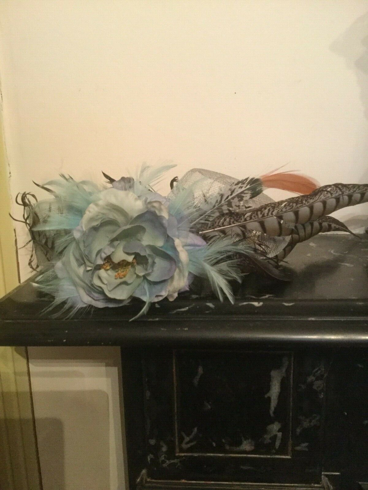 Races Ascot Or Vintage wedding 1920's Flapper Style Feathered Rose Hat Headpiece