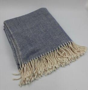 Vintage-Tablecloth-Blue-White-Herringbone-Twill-Cotton-W-Fringe-52-034-x54-034