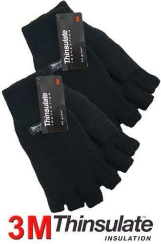 MENS//LADIES THINSULATE INSULATED FINGERLESS GLOVES THERMAL WINTER USE**NEW**
