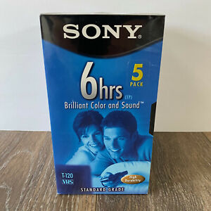 Sony VCR VHS Tapes 6 hour T-120 Premium Grade Blank - 5 Pack Brand New Sealed
