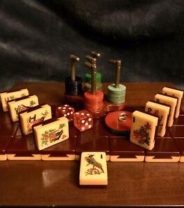 Hermoso-Conjunto-de-los-distribuidores-Oriental-Borgona-Cola-De-Milano-Mahjong-mosaicos-146-2-Tone