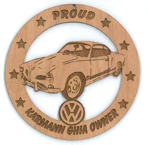 VW Karmann Ghia Coupe Red Alder Wood Ornament Engraved