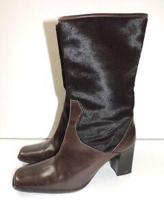 3b858042078b Delman Boots Womens Brown Cow Hide Shoes Heels 9.5