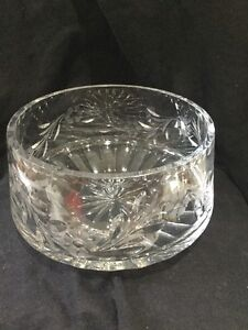 "Vtg Signed Large Rogaska Country Garden Crystal Bowl Floral Thick Wall 8"" X 5"""