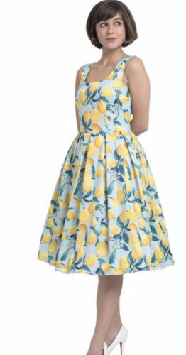 Dolly and Dotty Vintage Inspired Lemon Print Dress